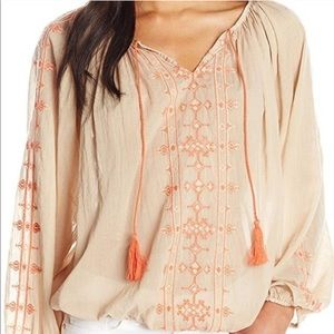 Lucky Brand Peasant Blouse w/ Orange Embroidery